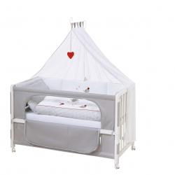 RobaŽkrevetac beli Adam&Owl 120x60 set sa posteljinom I dusekom