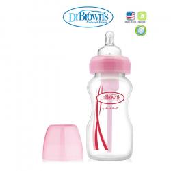 Dr.Browns plastična wide neck flašica sa silikonskom cuclom, roze 240