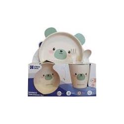 KikkaBoo set posuda od bambusa Bear mint