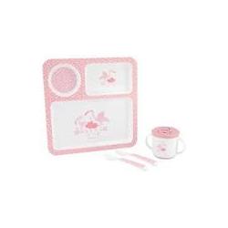 KikkaBoo set posuda 4 dela Flamingo Pink