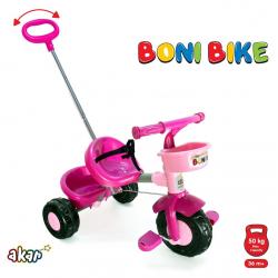 Tricikl Boni sa ručkom roze