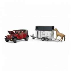 Jeep wrangler sa prikolicom za konje i figurom
