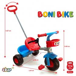 Tricikl Boni sa ruckom crveni