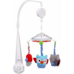 Muzicka vrteška za krevetac sa projektorom OWLS white