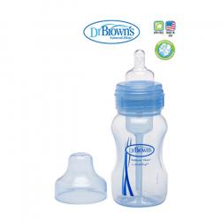 Dr.Browns plastična wide neck flašica sa silikonskom cuclom, plava 240