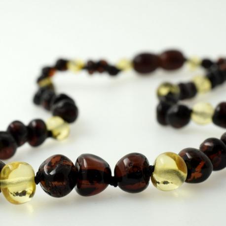 Babyline ogrlicia od ćilibara Baroque 3 Višnje i 1 Bela