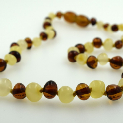 Babyline ogrlica od ćilibara Baroque Konjak i Bela